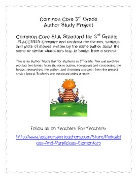 3rd Grade Common Core ELA Author Project Compare Contrast Choice Board Rubric
