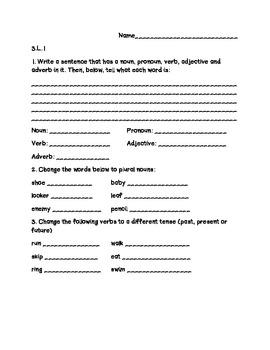 3rd Grade Common Core ELA Formative Assessments