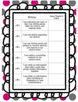 "3rd Grade Common Core ELA ""I Can"" Data Sheets"