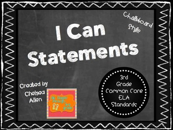 "3rd Grade Common Core ELA - ""I Can"" Learning Targets - Chalkboard"