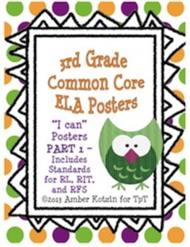 "3rd Grade Common Core ELA ""I Can"" Posters PART 1"