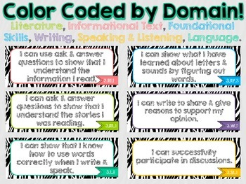 "3rd Grade Common Core ELA ""I Can"" Statements (Zebra)"