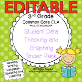 Student Data Tracking Binder | Data Graphing: 3rd Grade ELA Literacy *EDITABLE*