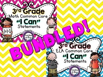 "3rd Grade Common Core ELA & Math ""I Can"" Statements (Chevron)"
