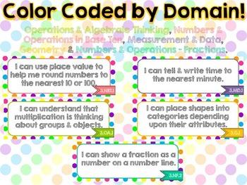 "3rd Grade Common Core ELA & Math ""I Can"" Statements (Polka)"