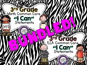 "3rd Grade Common Core ELA & Math ""I Can"" Statements (Zebra)"