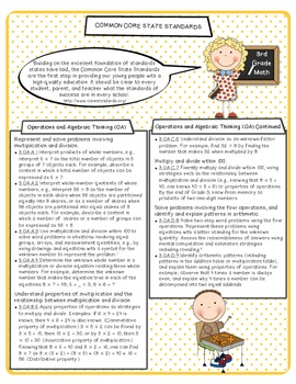 Common Core ELA & Math Standards Reference Sheets - 3rd Grade