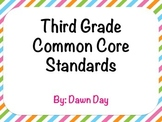 3rd Grade Common Core ELA and Math Standard Displays