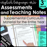 3rd Grade ELA Assessments - Reading Comprehension - Grammar - Writing