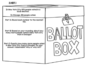 3rd Grade Common Core Election Day Math Assessment Task