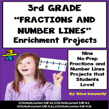 3rd Grade Fractions Number Line Enrichment Projects, Plus