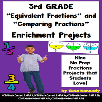 3rd Grade Fractions (Equivalent and Comparing) Projects, Plus Vocabulary Handout