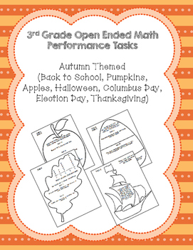 3rd Grade Common Core Fall Math Assessment Task Bundle