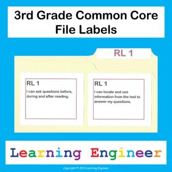 3rd Grade File Labels, 3rd Grade Learning Targets, File Folder Labels