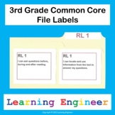 3rd Grade File Labels, Common Core ELA and Math