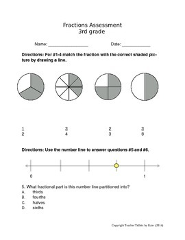 3rd Grade Common Core Fractions Assessment
