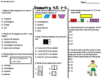 Geometry Test 3rd Grade