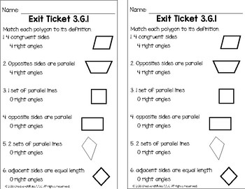 Attributes of Shapes Math Tasks and Exit Tickets