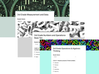 3rd Grade Common Core Google Form Checklists and Student Rubrics