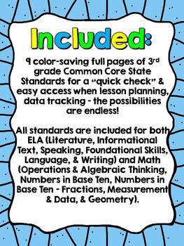 """3rd Grade Common Core """"I Can"""" Checklist (Ink Saver)"""
