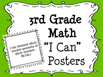 "3rd Grade Common Core ""I Can"" Math Posters"
