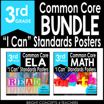 "3rd Grade Common Core ""I Can"" Standards Posters {ELA & MATH BUNDLE}"
