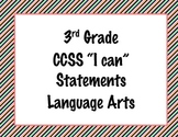 3rd Grade Common Core I Can Statements {Bold Diagonal Stri