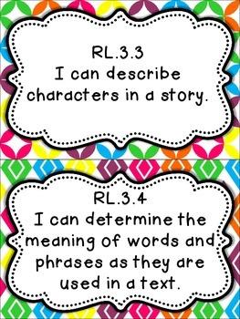 3rd Grade Common Core I Can Statements - Bright Colors!