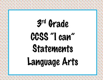 3rd Grade Common Core I Can Statements {Colorful Diamonds Theme}