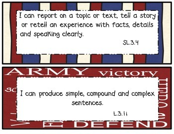 3rd Grade Common Core I Can Statements Patriotic Theme