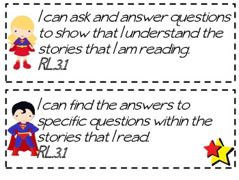 3rd Grade Common Core I Can Statements -Superman themed