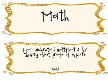 3rd Grade Common Core I Can Statements for Math