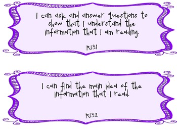 3rd Grade Common Core I Can Statements for Reading