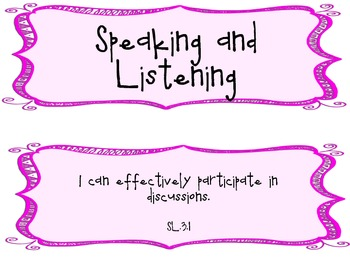 3rd Grade Common Core I Can Statements for Speaking & Listening