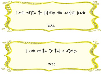 3rd Grade Common Core I Can Statements for Writing