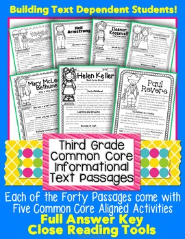 3rd Grade Close Reading Informational Text CC Aligned 4 Level Passages w/ TDQs