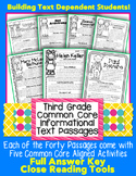 3rd Grade Close Reading Informational Text CC Aligned Leveled Passages w/ TDQs