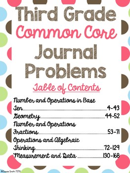 3rd Grade Math Journal Problems -Also Use For Ticket Out The Door