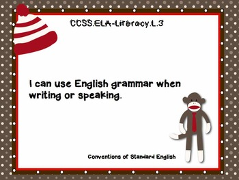 """3rd Grade Common Core Language - """"I Can"""" Learning Targets - Sock Monkey"""