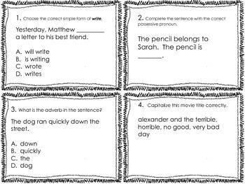 3rd Grade Common Core Language Review Set 1 Test Prep
