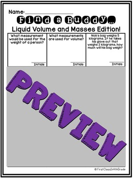 3rd Grade Common Core Liquid Volume and Masses (Find a Buddy)