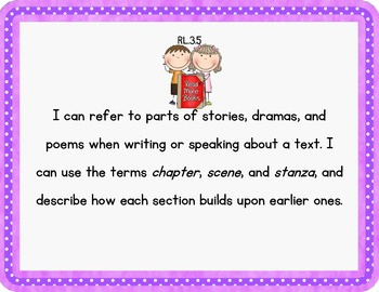 """3rd Grade Common Core Literacy Posters - """"I Can"""" Statements"""