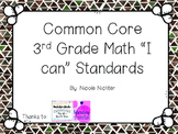 """3rd Grade Common Core MATH Standards """"I Can"""" Statements"""