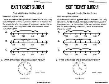 Telling Time to the Nearest Minute Math Tasks and Exit Tickets
