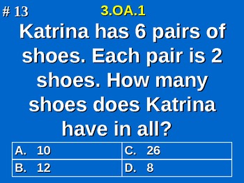 3rd Grade Common Core Math 3 OA.1 Products Of Whole Numbers Word Problems 3.OA.1