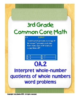 3rd Grade Common Core Math 3 OA.2 Division Word Problem Assessments 3.OA.2 PDF.