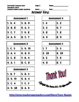 3rd Grade Common Core Math 3 OA.2 Division Word Problem Assessments 3.OA.2 PDF.