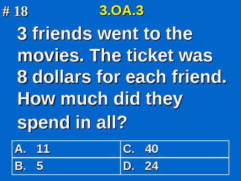 3rd Grade Common Core Math 3 OA.3 Equal Group Word Problems 3.OA.3