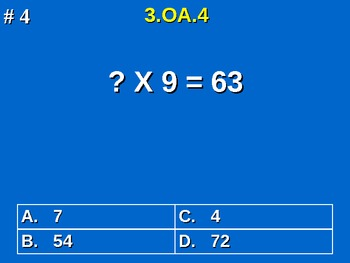 3rd Grade Common Core Math 3 OA.4 Determine Unknown Whole Number 3.OA.4