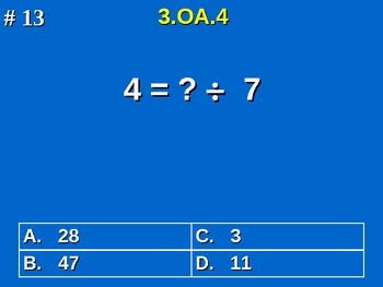 3rd Grade Common Core Math 3 OA.4 Determine Unknown Whole Number 3.OA.4